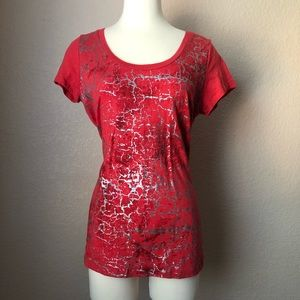 NEW Red Crackle Tee w/ Silver Accents by Maurices